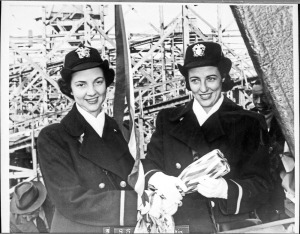 Julia Butler and Josephine Butler, pose at the christening of the Liberty ship S.S. Edwin L. Godkin on 30 November 1943. (Jackson Library, UNC Greensboro)