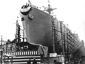 The S.S. Thomas Wolfe being prepared for launching, Dec.15, 1943
